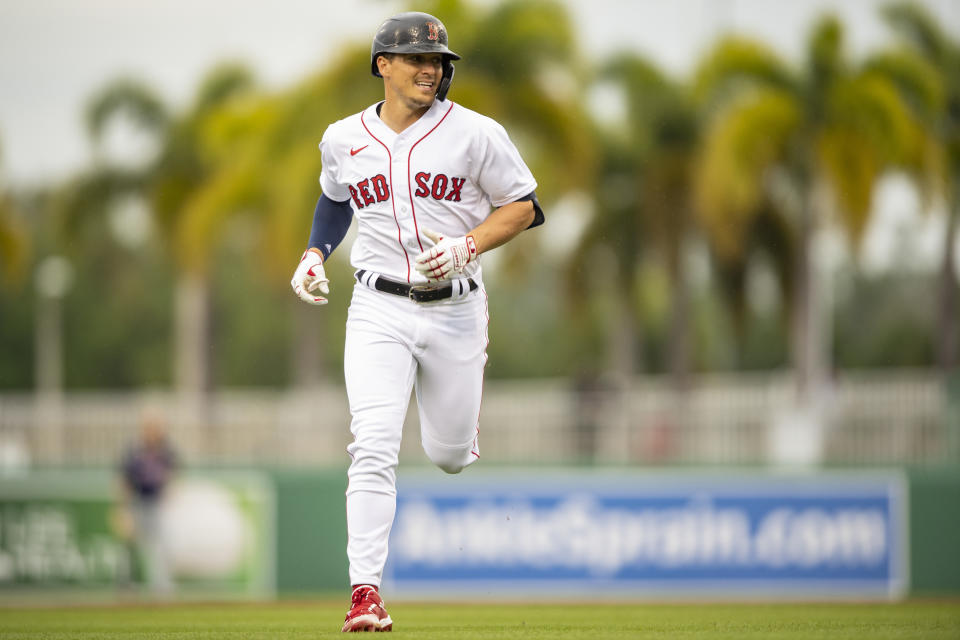 FT. MYERS, FL - MARCH 6: Enrique Hernandez #5 of the Boston Red Sox runs during the first inning of a Grapefruit League game against the Minnesota Twins on March 6, 2021 at jetBlue Park at Fenway South in Fort Myers, Florida. (Photo by Billie Weiss/Boston Red Sox/Getty Images)