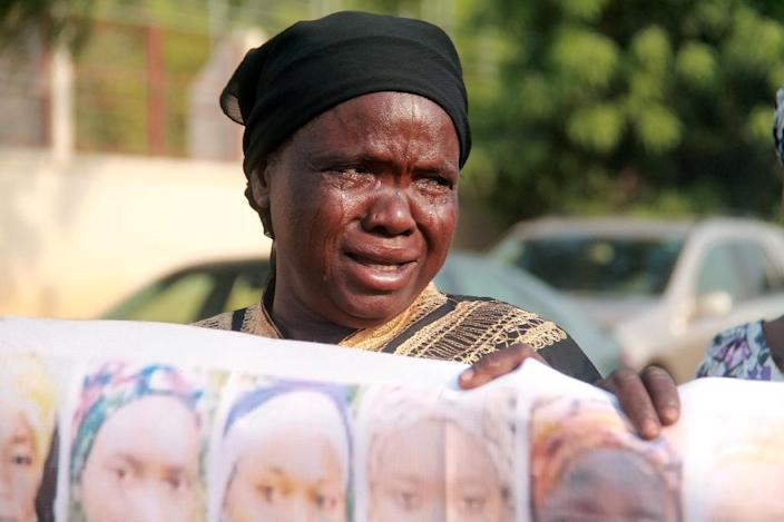 A Nigerian mother of one of the more than 200 girls abducted by Boko Haram, during a rally in Abuja on January 14, 2016 (AFP Photo/Str)