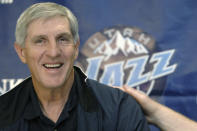 FILE - In this May 12, 2005, file photo, Utah Jazz coach Jerry Sloan smiles during a news conference in Salt Lake City. The Utah Jazz have announced that Jerry Sloan, the coach who took them to the NBA Finals in 1997 and 1998 on his way to a spot in the Basketball Hall of Fame, has died. Sloan died Friday morning, May 22, 2020, the Jazz said, from complications related to Parkinsons disease and Lewy body dementia. He was 78. (AP Photo/Fred Hayes, File)
