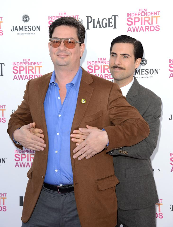 SANTA MONICA, CA - FEBRUARY 23: Actor Jason Schwartzman (R) and director Roman Coppola attend the 2013 Film Independent Spirit Awards at Santa Monica Beach on February 23, 2013 in Santa Monica, California.  (Photo by Jason Merritt/Getty Images)