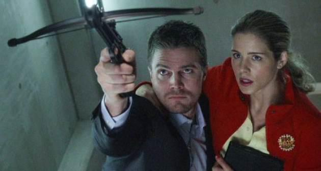 Stephen Amell and Emily Bett Rickards in 'Arrow' -- The CW