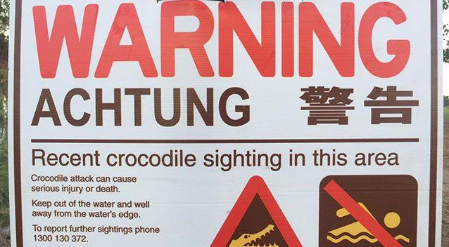 A warning sign has been erected at the scene. Source: Facebook
