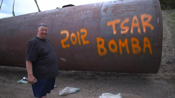 "Big Al is featured on the second season of ""Doomsday Preppers"" and fears that the Russians might send a nuclear missile toward the U.S. at any moment. Here he is photographed with a spent fuel tank made of thick metal (good for blocking gamma r"