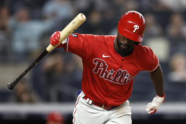 Philadelphia Phillies' Andrew McCutchen reacts to flying out against the New York Yankees during the seventh inning of a baseball game Wednesday, July 21, 2021, in New York. (AP Photo/Adam Hunger)