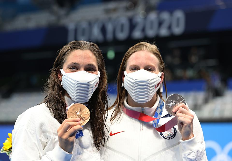 Annie Lazor (left) and Lilly King deserve to celebrate their Olympic bronze and silver medals, respectively, from the women's 200-meter breaststroke. (Photo by Ian MacNicol/Getty Images)