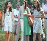 <p>This grey and white patterned Hobbs dress has been worn by Kate in July 2012 and April 2014. </p>