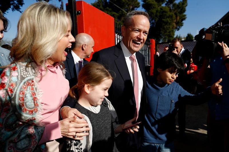 Labor leader Bill Shorten smiles with his wife and children on election day. Source: Getty