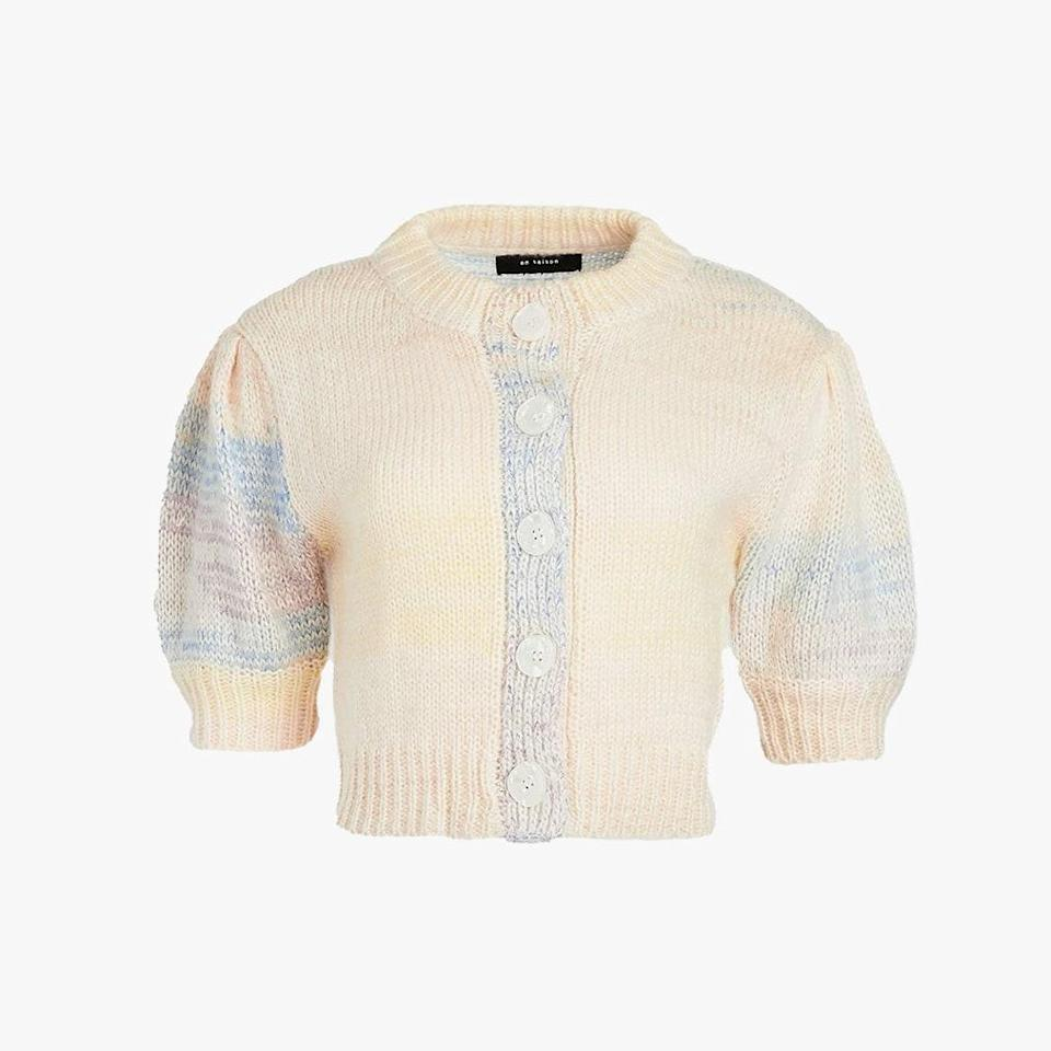 """Pastel hues will remind you of sunnier days, but the soft fabric is perfect for unpredictable weather. $84, SHOPBOP. <a href=""""https://www.shopbop.com/ombre-cardigan-top-puff-sleeves/vp/v=1/1531269548.htm"""" rel=""""nofollow noopener"""" target=""""_blank"""" data-ylk=""""slk:Get it now!"""" class=""""link rapid-noclick-resp"""">Get it now!</a>"""