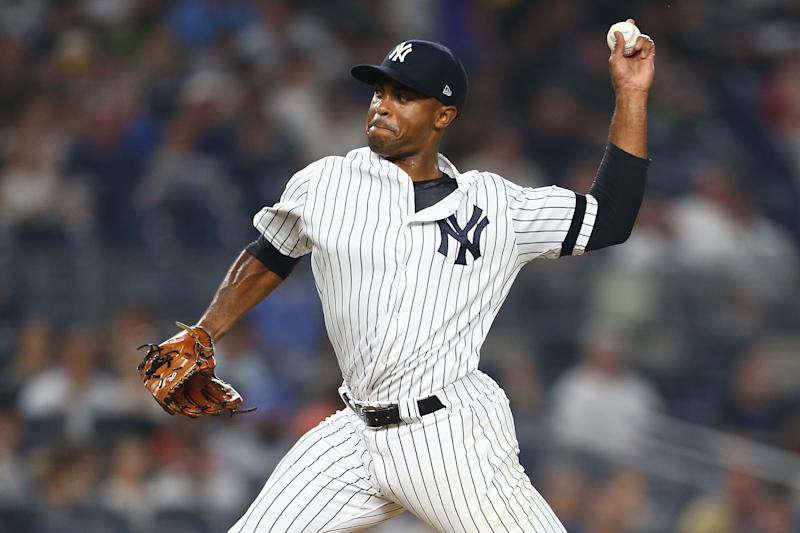 NEW YORK, NEW YORK - JULY 19: Stephen Tarpley #71 of the New York Yankees in action against the Colorado Rockies at Yankee Stadium on July 19, 2019 in New York City. New York Yankees defeated the Colorado Rockies 8-2. (Photo by Mike Stobe/Getty Images)