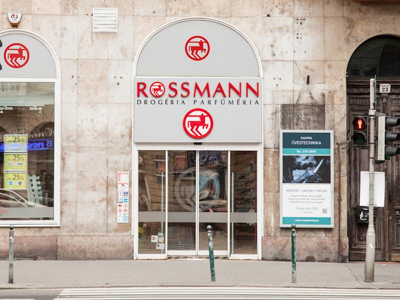 Picture of the Rossmann sign on one of their stores of Budapest, Hungary. Rossmann is Germany's second-largest drug store chain, with over 3,600 stores in Europe.
