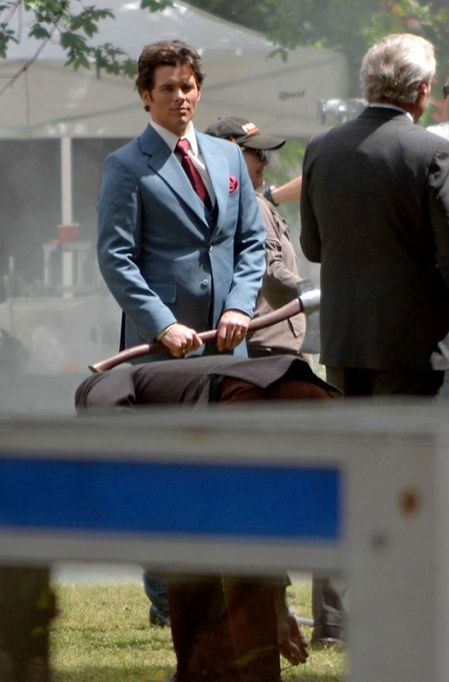 **EXCLUSIVE** James Marsden filming scenes on the sets of 'Anchorman-2' in Atlanta
