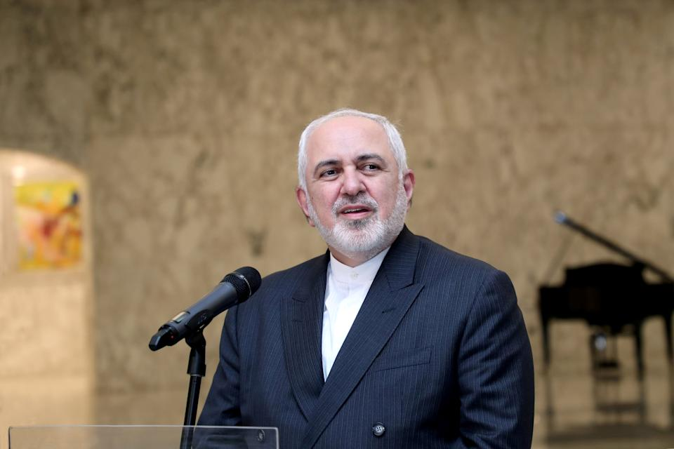 <p>Iran's Foreign Minister Mohammad Javad Zarif speaks at the presidential palace in Lebanon</p>Dalati Nohra/Reuters