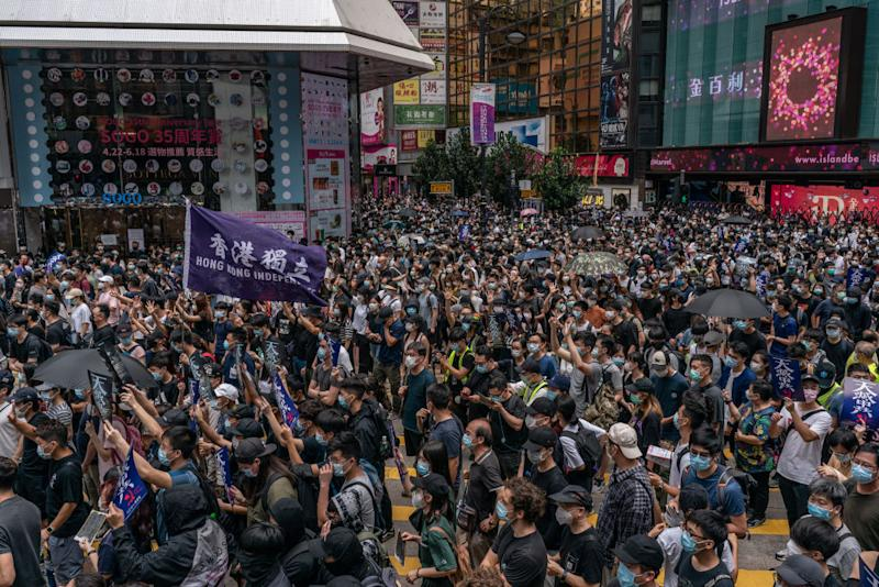 Pro-democracy supporters take part in an anti-government rally on May 24, 2020 in Hong Kong. Source: Getty