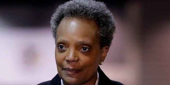 hicago Mayor Lori Lightfoot speaks during a news conference in Hall A at the COVID-19 alternate site at McCormick Place in Chicago, Friday, April 10, 2020.