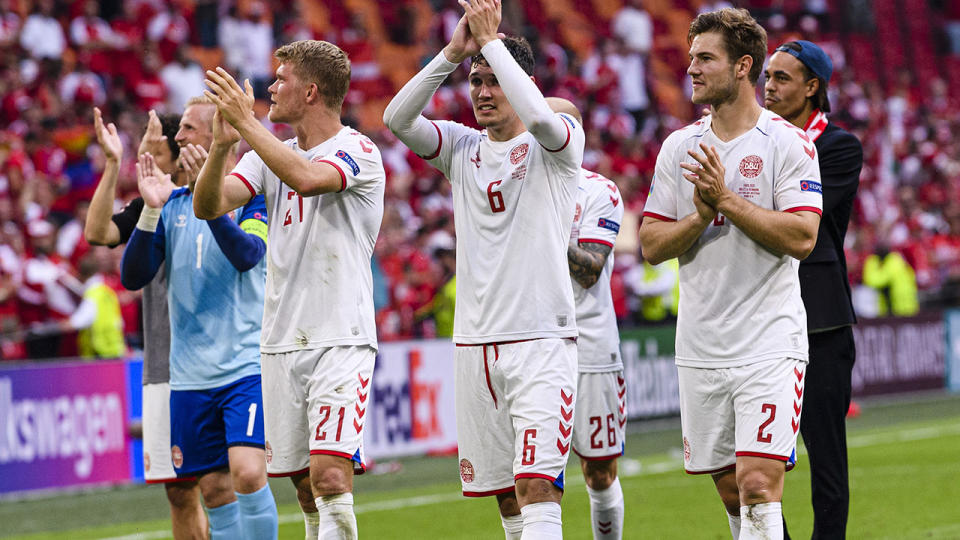 Denmark players, pictured here celebrating after beating Wales at Euro 2020.