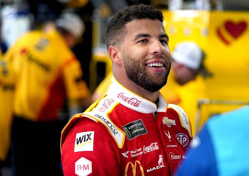 NASCAR driver Bubba Wallace at Charlotte Motor Speedway on Thursday, May 23, 2019. Wallace got on a knee in front of an Oregon waterfall on Friday, July 31, 2021 and popped the question to his longtime girlfriend, Amanda Carter.