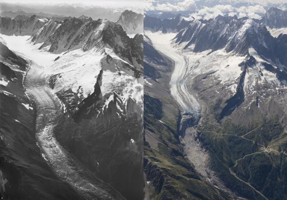 The dramatic ice loss on Mont Blanc in pictures taken last year and a century ago (Walter Mittelholzer, ETH-Bibliothek/Dr Kieran Baxter, University of Dundee)