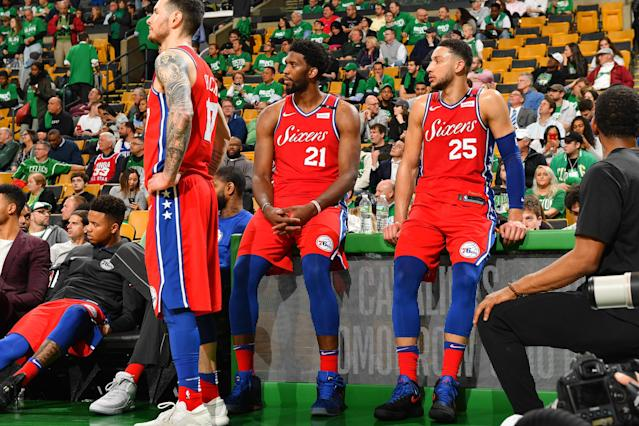Joel Embiid, Ben Simmons and the 76ers got a rude welcome to Boston in Game 1. (Getty)