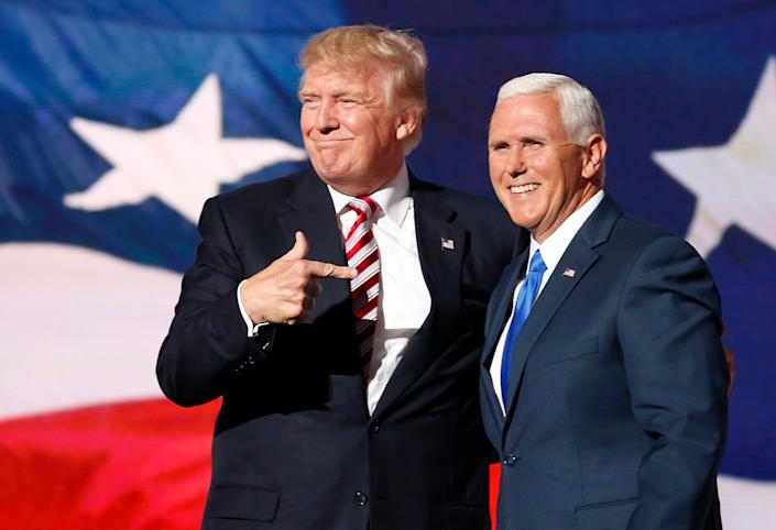 Donald Trump and Mike Pence are set to be replaced on Wednesday (EPA-EFE)
