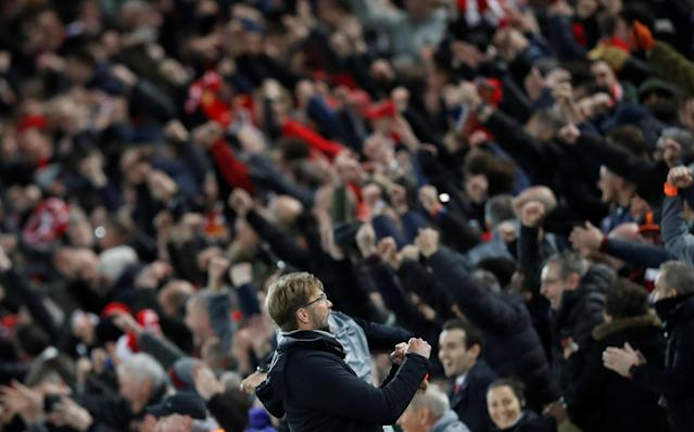 <p>Soccer Football – Champions League Quarter Final First Leg – Liverpool vs Manchester City – Anfield, Liverpool, Britain – April 4, 2018 Liverpool manager Juergen Klopp celebrates after Sadio Mane (not pictured) scored their third goal Action Images via Reuters/Carl Recine </p>