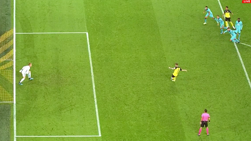 The controversial moment that should have seen Dortmund awarded a retake.