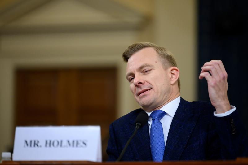David Holmes, a State Department official stationed at the US Embassy in Ukraine testifies during the House Intelligence Committee hearing as part of the impeachment inquiry into US President Donald Trump on Capitol Hill in Washington,DC on November 21, 2019. (Photo: Jim Watson/AFP via Getty Images)