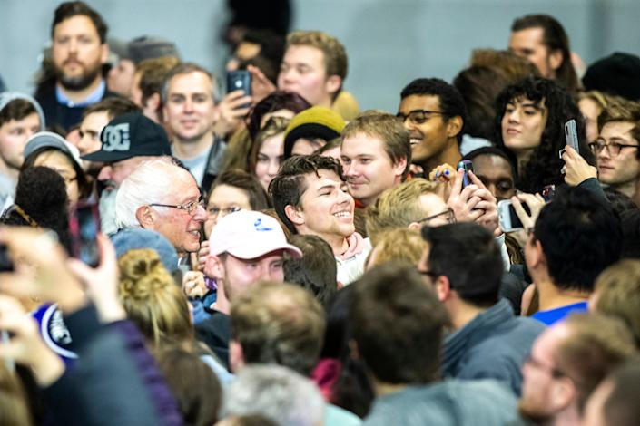 Democratic presidential candidate U.S. Sen. Bernie Sanders, I-Vt., poses for a selife with a supporter after speaking during campaign rally, Saturday, Nov., 9, 2019, at the Coralville Mariott Hotel and Conference Center, in Coralville, Iowa.