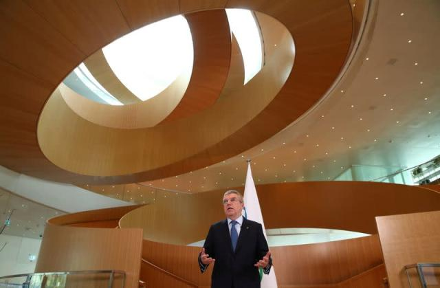 Bach President of the IOC gives a statement after an Executive Board meeting in Lausanne
