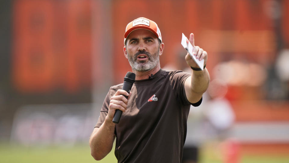Cleveland Browns head coach Kevin Stefanski speaks to the fans during an NFL football practice, Saturday, July 31, 2021, in Berea, Ohio. (AP Photo/Tony Dejak)