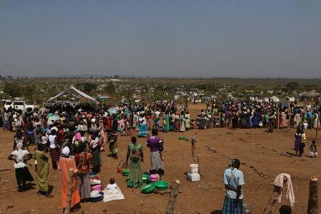 An aerial photograph showing South Sudanese refugees at Bidi Bidi refugee's resettlement camp near the border with South Sudan, in Yumbe district