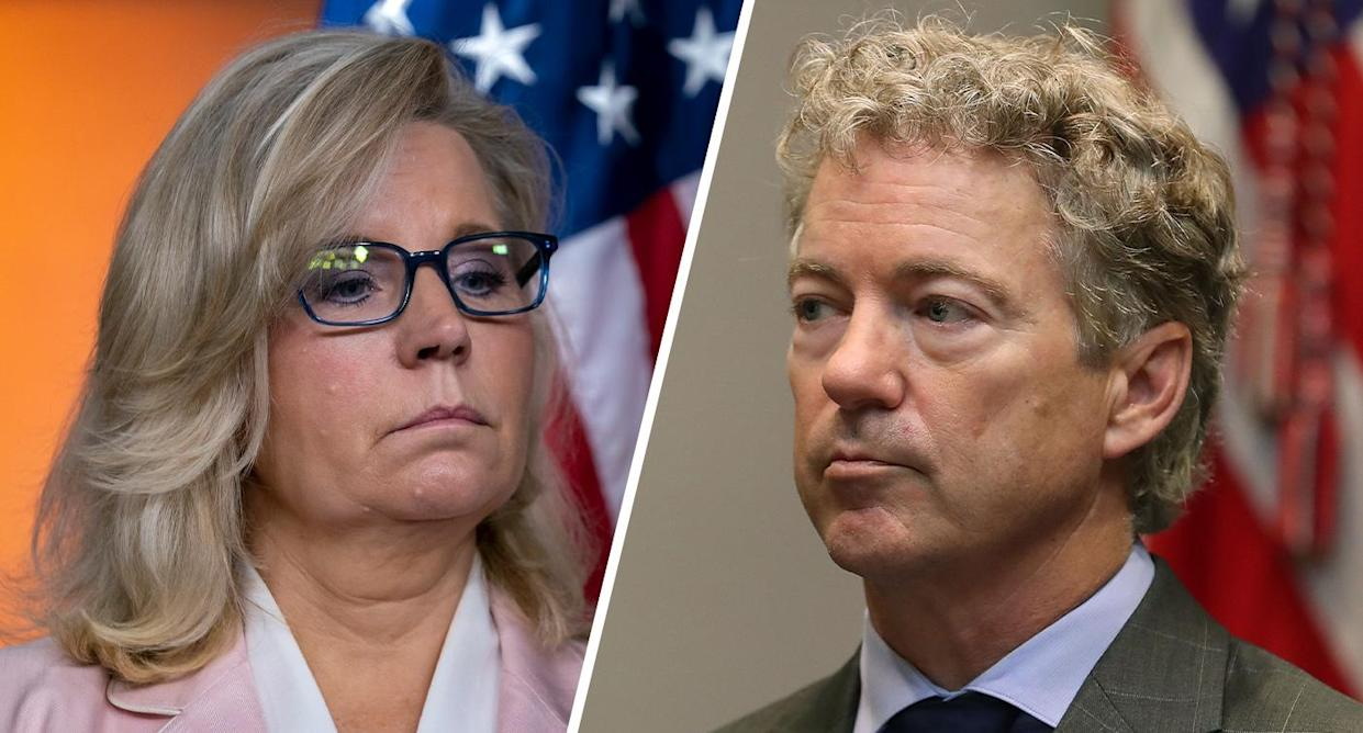 Rep. Liz Cheney, R-Wyo., and Sen. Rand Paul, R-Ky. (Photos: Scott Applewhite/AP, Mark Wilson/Getty Images)