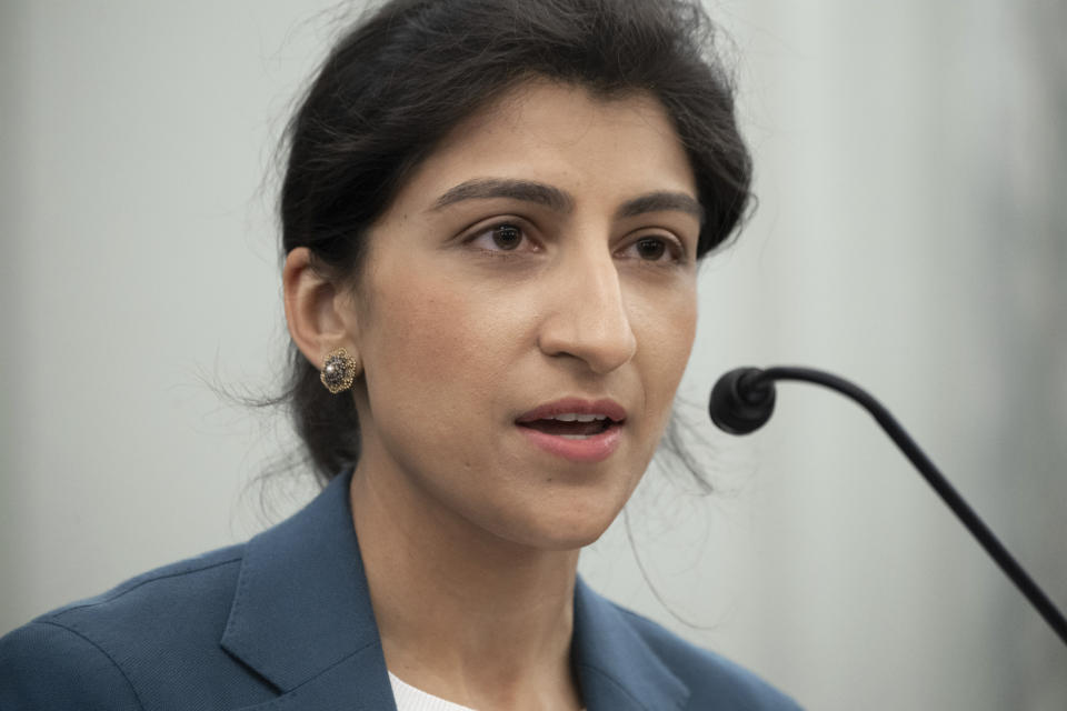 Lina Khan, nominee for Commissioner of the Federal Trade Commission (FTC), peaks during a Senate Committee on Commerce, Science, and Transportation confirmation hearing, Wednesday, April 21, 2021 on Capitol Hill in Washington. (Saul Loeb/Pool via AP)