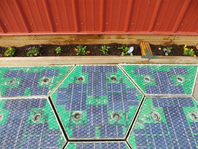 A close-up of the solar panels installed in Scott Brusaw's driveway. Source: Solar Roadways
