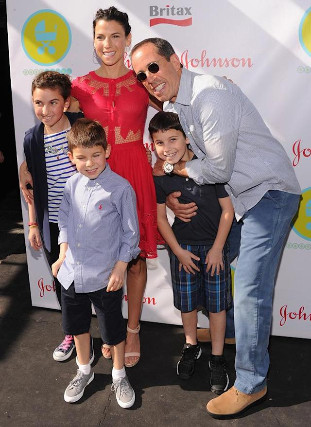 Jerry and Jessica with Sascha, Shepherd, and Julian at an event for Jessica's charity in 2013. (Photo: Jamie McCarthy/Getty Images for Baby Buggy)