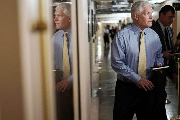 PHOTO: File photo - Rep. Pete Sessions speaks to members of the media as he arrives for a Republican conference meeting June 7, 2018 on Capitol Hill in Washington. (File/Alex Wong/Getty Images)