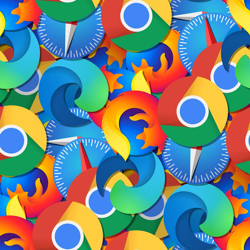 Seamless pattern with browsers Edge, Chrome, Safari and Firefox. A variant with small icons.