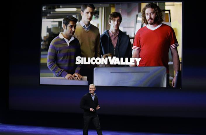"""Apple CEO Tim Cook talks about HBO programs, including """"Silicon Valley,"""" during an Apple event on Monday, March 9, 2015, in San Francisco. (AP Photo/Eric Risberg)"""
