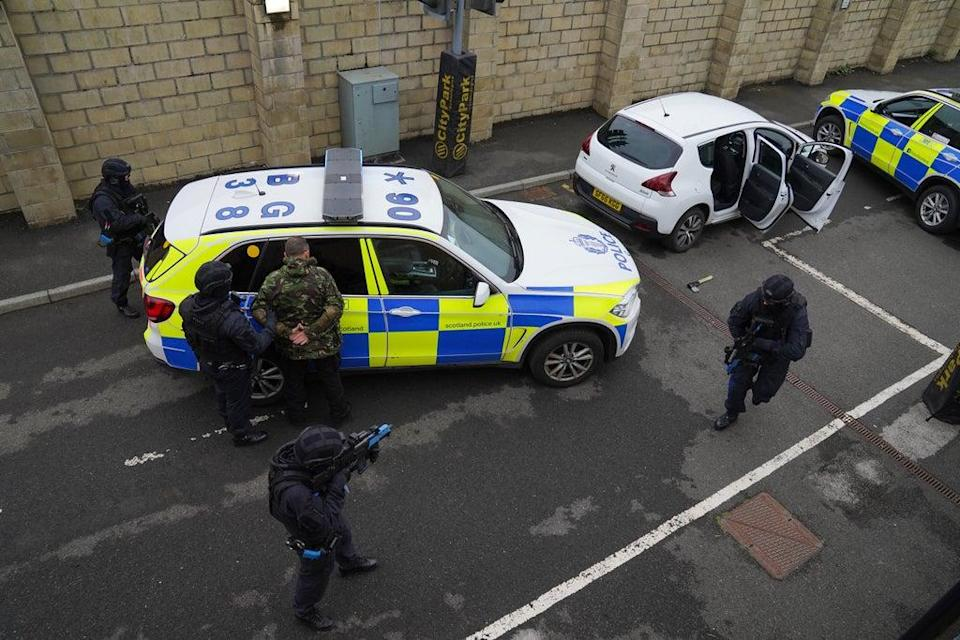 The armed officers' training involved a mock street scene (Andrew Milligan/PA) (PA Wire)