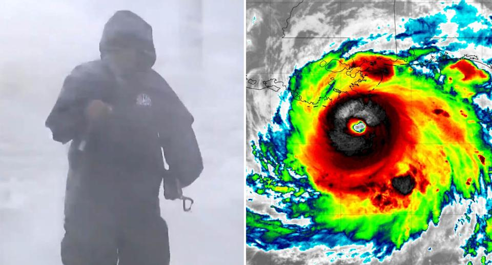 Al Roker was among the weather reporters to brave the conditions. Source: NBC/FEMA
