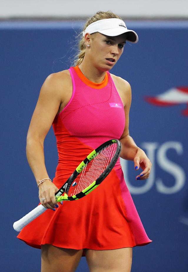 <p>Caroline Wozniacki of Denmark reacts during her first round Women's Singles match against Mihaela Buzarnescu of Romania on Day One of the 2017 US Open at the USTA Billie Jean King National Tennis Center on August 28, 2017 in the Flushing neighborhood of the Queens borough of New York City. (Photo by Elsa/Getty Images) </p>