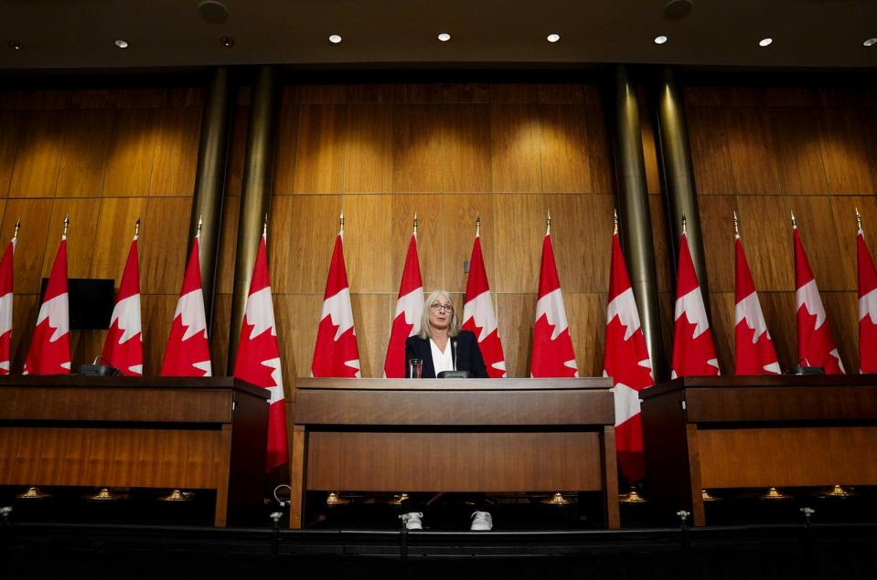 """<span class=""""caption"""">Canadian Minister of Health Patty Hajdu speaks during a press conference in Ottawa. </span> <span class=""""attribution""""><span class=""""source"""">THE CANADIAN PRESS/Sean Kilpatrick</span></span>"""