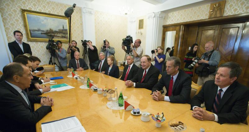 Russian Foreign Minister Sergey Lavrov left listens to U.S. Sen. Richard Shelby R-Ala. third right during his meeting with U.S. congressional delegation as U.S. Ambassador to Russia Jon Huntsman Jr. attends the talks in Moscow Russia Tuesday July