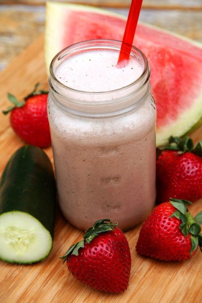 """<p>Perfect to pair with an afternoon by the pool, this hydrating smoothie has all the best flavors of summer. It's also great for a post-workout drink since the watermelon can relieve muscle soreness and the strawberries offer carbs to restore energy levels.</p> <p><strong>Get the recipe:</strong> <a href=""""https://www.popsugar.com/fitness/Hydrating-Recovery-Smoothie-37382492"""" class=""""link rapid-noclick-resp"""" rel=""""nofollow noopener"""" target=""""_blank"""" data-ylk=""""slk:strawberry-watermelon hydrating smoothie"""">strawberry-watermelon hydrating smoothie</a></p>"""