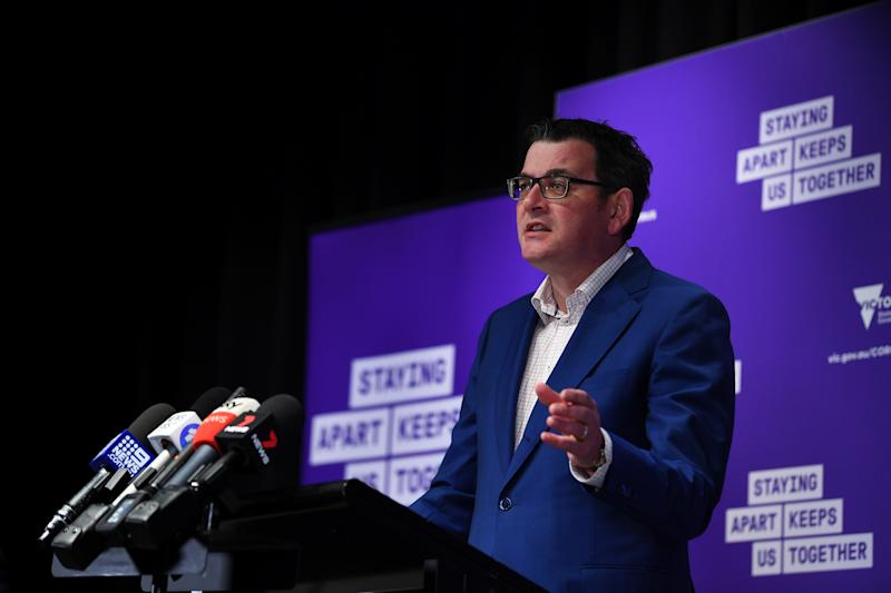 Victorian Premier Daniel Andrews has announced another large spike in coronavirus cases. Source: AAP