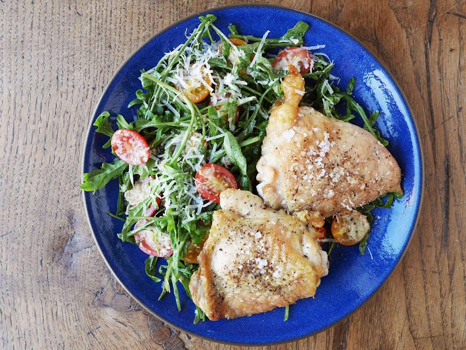"""<p>Once you discover the magic of juicy thighs, you might not go back to breasts.</p><p>Get the recipe from <a href=""""https://www.delish.com/cooking/recipe-ideas/recipes/a42842/baked-chicken-thighs-with-arugula/"""" rel=""""nofollow noopener"""" target=""""_blank"""" data-ylk=""""slk:Delish"""" class=""""link rapid-noclick-resp"""">Delish</a>. </p>"""