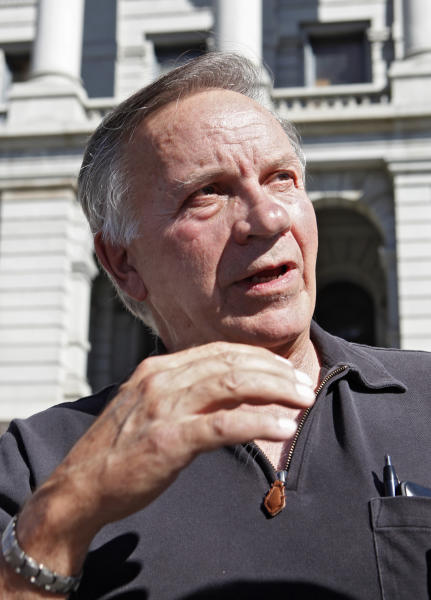"In this Oct. 2, 2012 photo, former Republican U.S. Rep. Tom Tancredo speaks out in favor supporting Amendment 64 to legalize marijuana in Colorado during a news conference at the Capitol in Denver. Tancredo, a suburban Denver Republican who briefly ran for president in 2008, launched a radio ad this week in which he compares marijuana prohibition to alcohol prohibition as a ""failed government program"" that, in this case, ""steers Colorado money to criminals in Mexico."" (AP Photo/Ed Andrieski)"