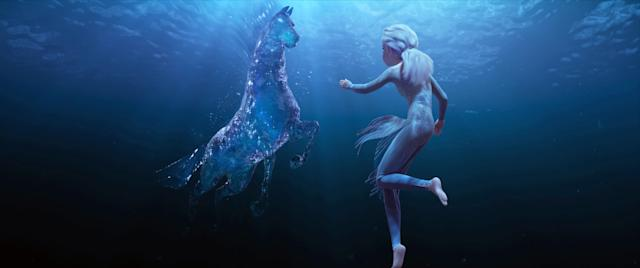 Elsa makes a new friendn in <em>Frozen 2</em>, a water spirit that takes an equine shape. (Photo: Walt Disney Studios Motion Pictures / Courtesy Everett Collection)