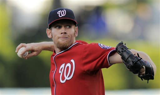 Washington Nationals starting pitcher Stephen Strasburg throws to the plate during the first inning of their baseball game against the Los Angeles Dodgers, Saturday, April 28, 2012, in Los Angeles. (AP Photo/Mark J. Terrill)