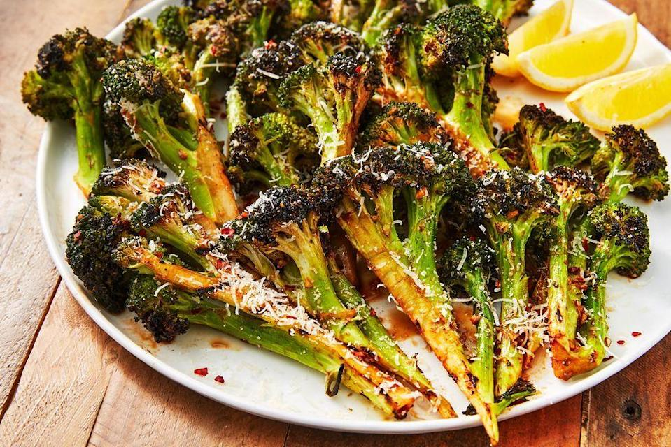 """<p>Don't you just love when the end of broccoli florets get nice and charred? The best way to accomplish that is on the grill!</p><p>Get the recipe from <a href=""""https://www.delish.com/cooking/recipe-ideas/a27185834/grilled-broccoli-recipe/"""" rel=""""nofollow noopener"""" target=""""_blank"""" data-ylk=""""slk:Delish"""" class=""""link rapid-noclick-resp"""">Delish</a>.</p>"""