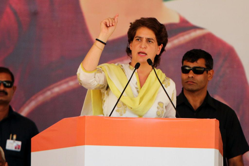 <p>BATHINDA, INDIA – MAY 14: Congress general secretary Priyanka Gandhi Vadra addressing a rally in support of Congress candidate Amrinder Singh Raja Warring on May 14, 2019 in Bathinda, India. (Photo by Sanjeev Kumar/Hindustan Times via Getty Images) </p>